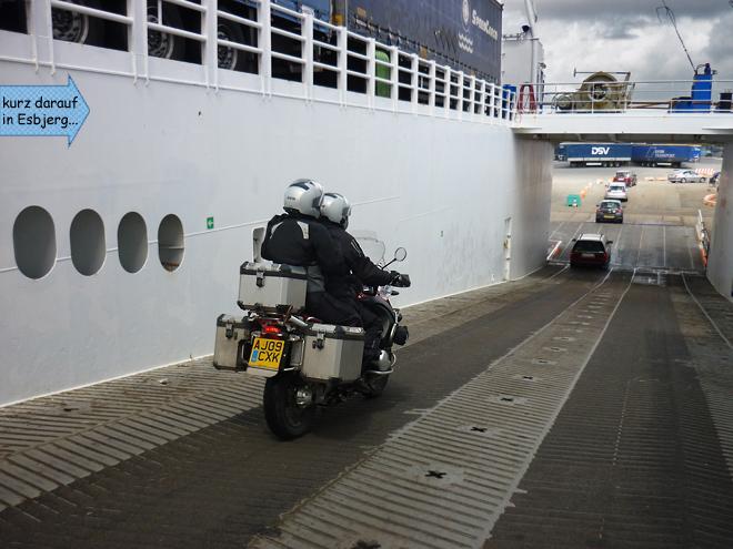 Motorrad vom Schiff fahren Esbjerg
