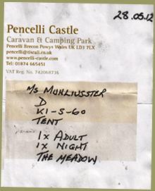 Pencelli Castle Receipt