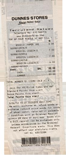 Receipt Dunnes Stores Leggings kaufen