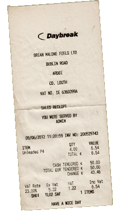 Ardee Fuel Station Receipt