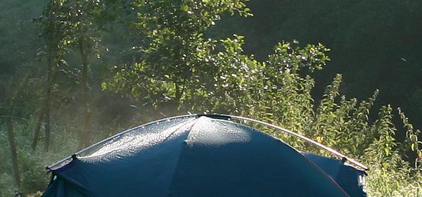 Mein Zelt im Morgentau am Flussufer
