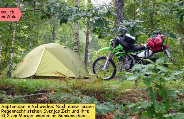 Endurowandern mit der KLX250 und Kuppelzelt Salewa Denali